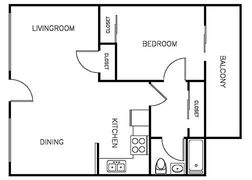 Palma Imperial 1 bedroom 1 bath 675 sqft floor plan 1