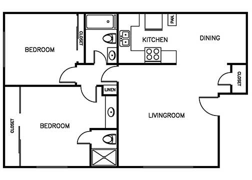 Palma Imperial 2 bedroom 1 bath 760 sqft floor plan